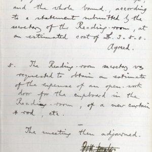 Amalgamation Club minutes, October term 1887. [KCAC/1/1/1 f.97]