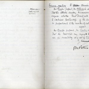Minutes of the Amalgamation Club's Finance Committee,  8 November 1889.  [KCAS/1/1/1]