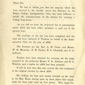 Circular regarding the new Boat House,  25 July 1894.  [KCAS/1/11/1, page 1]