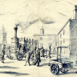 Sketch by Thomas Greeves showing Widor's steam car and a crowd (KCAS/21/2)