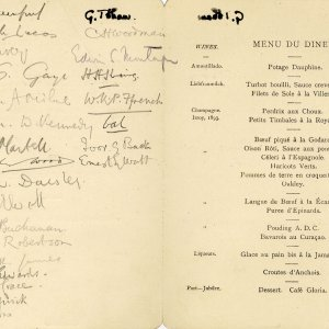 Agememnon dinner menu signed by attendees including W Durnford, AA Milne and MR James (KCAS/35/1)