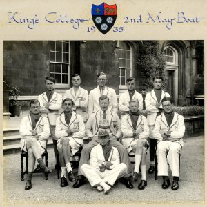 Crew of King's College's 2nd boat, May 1935. Alan Turing is second from the left on the back row. [KCAS/5/4/2]