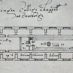 Plan of King's College Chapel showing side-chapels used to house the library, taken from a board created as part of an historical exhibition 1965-67 (KCC/71)
