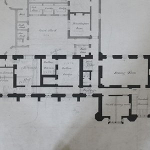 Wilkins' plan for the ground floor of the library, 1823. (KCD/452)