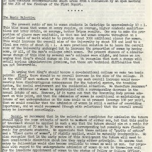 The first page of the JCR Committee report.  [KCGB/4/1/1/22]