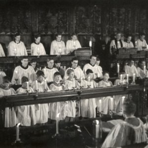Still of choristers singing, taken from 'Christmas Under Fire', November 1940. (KCPH/2/16/2)