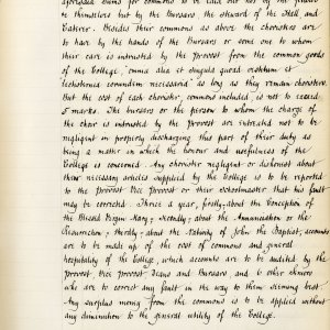 Second page of Founder's statute XV, translated by T. Brocklebank (transcribed by F.L.Clarke) (KCS/69)