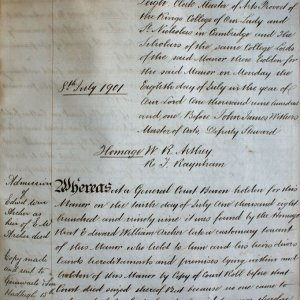 First page of admission of Edward William Archer as heir of E.W. Archer, Kersey manor court roll, 8 July 1901. (KER/904)
