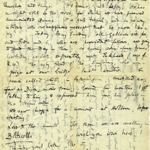 Recto of a letter sent by Rupert Brooke to his mother while on holiday in Italy with his brother Alfred in 1907. [RCB/L/6/3]