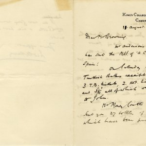 Second page of a letter from Fred Harvey to Oscar Browning, August 1896. (OB/1/751)