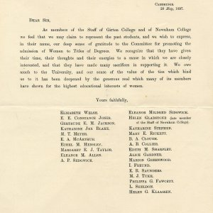 Notice of thanks circulated by Miss Welsh, shortly after the 1897 vote. [OB/1/1733]