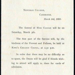 Anne Clough's funeral notice. [OB/1/358A]