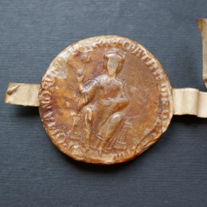 Seal attached to a confirmation by the Empress Matilda of a grant, 1141-1143 (SJP/19)