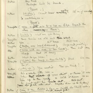 Page of Rupert Brooke's annotated manuscript of 'Lithuania; A Drama in One Act', written in 1912. [RCB/D/1, f.26]