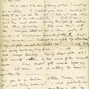 Letter from Rupert Brooke to St John Lucas, dated 7 March 1907. King's College, Cambridge. The Papers of Rupert Chawner Brooke. RCB/L/2/47 recto.