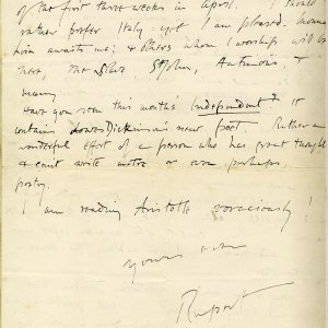 Letter from Rupert Brooke to St John Lucas, dated 7 March 1907. King's College, Cambridge. The Papers of Rupert Chawner Brooke. RCB/L/2/47 verso.
