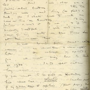 Second page of a letter from Rupert Brooke to Jacques Raverat on 1 March 1910. [RCB/L/3]