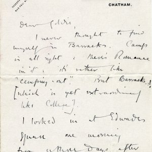 First page of a letter to Goldsworthy Lowes Dickinson, 28 October 1914. Archive Centre, King's College, Cambridge. RCB/L/8/15A.