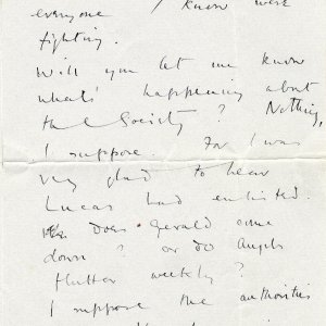 Second page of a letter to Goldsworthy Lowes Dickinson, 28 October 1914. Archive Centre, King's College, Cambridge. RCB/L/8/15A.