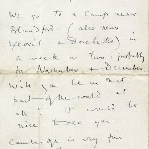 Fourth page of a letter to Goldsworthy Lowes Dickinson, 28 October 1914. Archive Centre, King's College, Cambridge. RCB/L/8/15A.