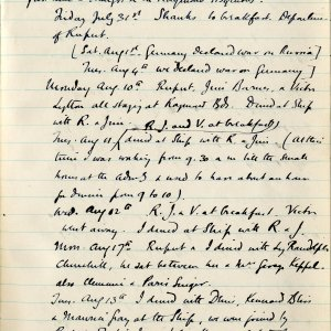 Extracts from Edward Marsh's diary (extracts written by Marsh). 30 July 1914. Archive Centre, King's College, Cambridge. RCB/L/10/5.