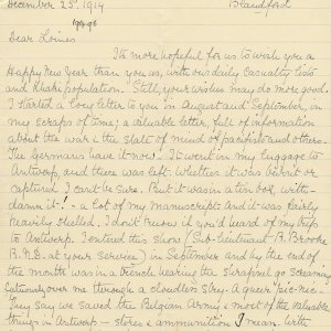 First page of a transcript by Mary Ruth Brooke of a letter Rupert Brooke wrote to Russell Loines on 25 December 1914. Archive Centre, King's College, Cambridge. RCB/L/8/26/4.