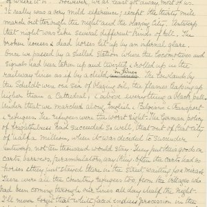 Second page of a transcript by Mary Ruth Brooke of a letter Rupert Brooke wrote to Russell Loines on 25 December 1914. Archive Centre, King's College, Cambridge. RCB/L/8/26/4.