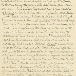 Third page of a transcript by Mary Ruth Brooke of a letter Rupert Brooke wrote to Russell Loines on 25 December 1914. Archive Centre, King's College, Cambridge. RCB/L/8/26/4.