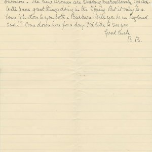 Fifth page of a transcript by Mary Ruth Brooke of a letter Rupert Brooke wrote to Russell Loines on 25 December 1914. Archive Centre, King's College, Cambridge. RCB/L/8/26/4.