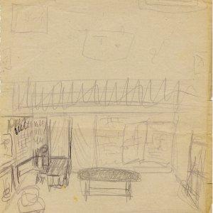 Sketch of the set for Comus. [RCB/M/9]