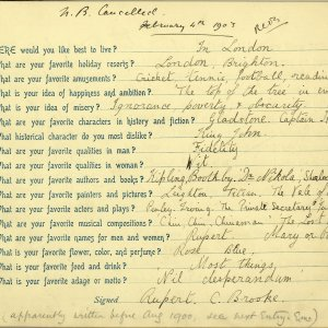 For his thirteenth birthday, Rupert Brooke's Aunt Fanny gave him a book of questionnaires, which he asked friends and family to complete. He also answered the questionnaire himself, revealing such details as his favourite actors and plays. RCB/M/2.