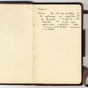 Rupert Brooke's diary entries for 31 March 1915 in Cairo Archive Centre, King's College, Cambridge. RCB/M/22.