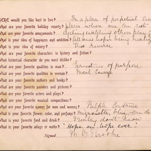 Mary Ruth Brooke's answers to a questionnaire Rupert asked her to complete in 1900. [RCB/M/2]