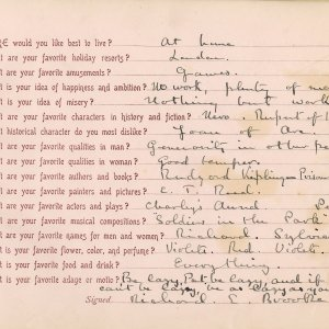Richard Brooke's answers to the questionnaire booklet, completed in 1900. [RCB/M/2]