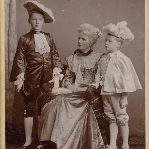 Professional studio portrait of [l-r] Rupert Brooke, Mary Ruth Brooke and Alfred Brooke, in 1898. Photographer: E.H. Speight, Rugby [RCB/Ph/4]