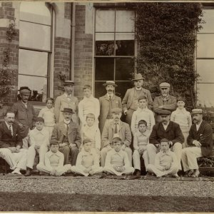 Hillbrow School Cricket XI, with Rupert Brooke and William Parker Brooke together in centre of middle row. 1900-1901. [RCB/Ph/12]