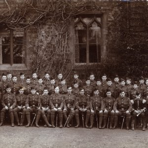 Rugby School Rifle Corps, School Field Group.  Rupert Brooke 5th from left, front row; Geoffrey Keynes 5th from left, back row.  Taken at Rugby School, by George A. Dean, Rugby. 1904 Archive Centre, King's College, Cambridge. RCB/Ph/21.