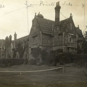 School Field building, inscribed on front, by Rupert Brooke, indicating boys' and private sections of the house, and Rupert Brooke's south window. [RCB/Ph/41]