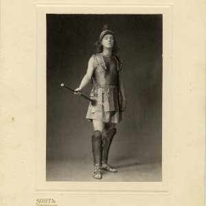 Cambridge had a 'Greek Play' tradition dating back to 1882, with performances being conducted entirely in Greek, which must have appealed to Rupert Brooke's interests in both Classics and drama. He played the herald in Eumenides. [RCB/Ph/46]