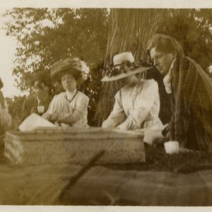 •Photograph of Frances Cornford, Francis Cornford, Margery Olivier, an unidentified person and Rupert Brooke taken by the river, near Grantchester. 1908-1911. Archive Centre, King's College, Cambridge. RCB/Ph/100.