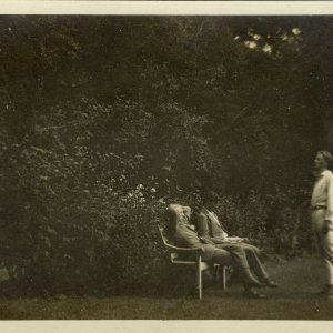 •Rupert Brooke reciting (or possibly rehearsing Doctor Faustus) to Dudley Ward and Jacques Raverat.  Taken at the Old Vicarage garden, Grantchester. 1907. Archive Centre, King's College, Cambridge. RCB/Ph/132