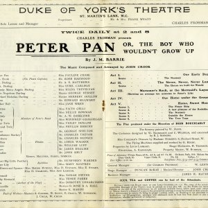 Programme for Peter Pan or, the Boy Who Wouldn't Grow Up, by J.M. Barrie, as performed at the Duke of York's Theatre in London, where it premiered on 27 December 1904. RCB/Pr/37.