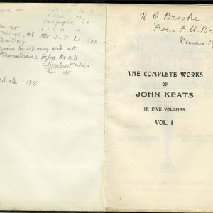 'The Complete Works of John Keats', given to Rupert Brooke by his Aunt Fanny in 1910. [RCB/Pr/90]