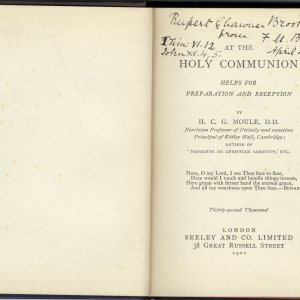 'At the holy communion' by H.C.G. Moule, given to Rupert Brooke by his Aunt Fanny on 4 April 1903. [RCB/Pr/94]