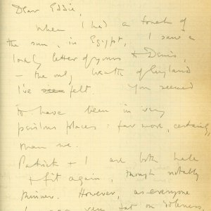 First page of a letter from Rupert Brooke to Edward Marsh, 9 March 1915. Archive Centre, King's College, Cambridge. RCB/S/5/2, 215.