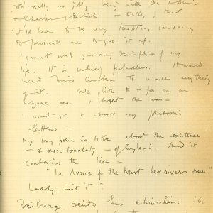 Third page of a letter from Rupert Brooke to Edward Marsh, 9 March 1915. Archive Centre, King's College, Cambridge. RCB/S/5/2, 215.