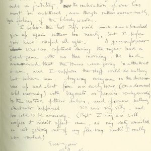 Third page of a letter from Geoffrey Keynes to Eddie Marsh, 16 March 1915. Archive Centre, King's College, Cambridge. RCB/S/9/2.