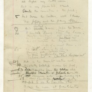 Much corrected draft in pencil of 'The Old Vicarage, Grantchester', entitled 'The sentimental exile'. Archive Centre, King's College, Cambridge. RCB/V/1 ff.56r.