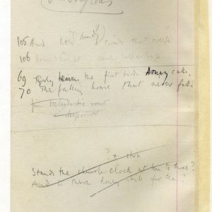 Much corrected draft in pencil of 'The Old Vicarage, Grantchester', entitled 'The sentimental exile'. Archive Centre, King's College, Cambridge. RCB/V/1 ff.56v.