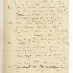 Much corrected draft in pencil of 'The Old Vicarage, Grantchester', entitled 'The sentimental exile'. Archive Centre, King's College, Cambridge. RCB/V/1 ff.57r.